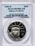 Modern Bullion Coins: , 1998-W P$100 One-Ounce Platinum Eagle PR70 Deep Cameo PCGS. PCGSPopulation (105). NGC Census: (379). Mintage: 26,047. Numi...
