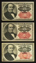 Fractional Currency:Fifth Issue, Fr. 1308 25¢ Fifth Issue Very Fine-Extremely Fine;. Two Fr. 1309Fifth Issue Notes Very Fine or Better.. ... (Total: 3 notes)