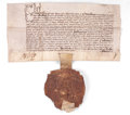 Prints, ROYAL LETTERS PATENT. England, March 21, 1582. 7 x 13 inches (17.8x 33.0 cm). Manuscript with Seal, unframed. Elton Hyder...