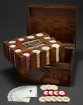 Decorative Arts, British:Other , A VICTORIAN MAHOGANY GAME BOX WITH IVORY POKER CHIPS . Circa 1900.4-3/4 inches high x 9-3/4 inches wide x 8-1/4 inches deep...