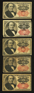 Fractional Currency:Fifth Issue, Two Fr. 1308 25¢ Fifth Issue Notes Very Good or Better;. Three Fr.1309 25¢ Fifth Issue Notes Very Good or Better.. ... (Total: 5notes)