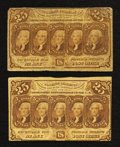 Fractional Currency:First Issue, Two Fr. 1281 25¢ First Issue Notes Very Good-Very Fine.. ... (Total: 2 notes)