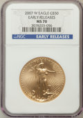 Modern Bullion Coins, 2007-W $50 One-Ounce Gold Eagle Early Releases MS70 NGC. NGCCensus: (0). PCGS Population (200). Numismedia Wsl. Price for...