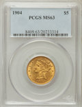 Liberty Half Eagles: , 1904 $5 MS63 PCGS. PCGS Population (551/290). NGC Census:(756/456). Mintage: 392,000. Numismedia Wsl. Price for problemfr...