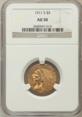 Indian Half Eagles: , 1911-S $5 AU50 NGC. NGC Census: (62/2318). PCGS Population(127/1463). Mintage: 1,416,000. Numismedia Wsl. Price for proble...