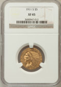 Indian Half Eagles: , 1911-S $5 XF45 NGC. NGC Census: (92/2237). PCGS Population(133/1537). Mintage: 1,416,000. Numismedia Wsl. Price for proble...