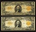 Large Size:Gold Certificates, Two Fr. 1187 $20 1922 Gold Certificates Fine-Very Fine or Better.. ... (Total: 2 notes)