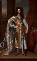 Fine Art - Painting, European, ENGLISH ARTIST (19th century). William III, King of England, in Coronation Robes. Oil on canvas. 92-1/2 x 57 inches (235...