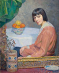 Fine Art - Painting, American:Modern  (1900 1949)  , GEORGE LAURENCE NELSON (American, 1887-1978). Portrait of aWoman, 1915. Oil on canvas. 40 x 32 inches (101.6 x 81.3 cm)...