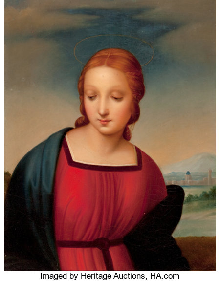 After RAPHAEL (Italian, 1483-1520) Head of the Madonna from Madonna of the Goldfinch (Madonna del Cardellino) of 1505-150...