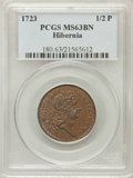 1723 1/2P Hibernia Halfpenny MS63 Brown PCGS. PCGS Population (44/30). NGC Census: (8/10). (#180)...(PCGS# 180)