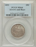 Seated Quarters: , 1853 25C Arrows and Rays MS64 PCGS. PCGS Population (150/24). NGCCensus: (148/37). Mintage: 15,210,020. Numismedia Wsl. Pr...