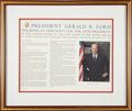 Autographs:U.S. Presidents, Gerald Ford Document Signed...