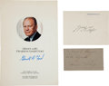 Autographs:U.S. Presidents, [Presidents]. Three Signed Items... (Total: 3 Items)