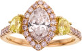 Estate Jewelry:Rings, Light Pink Diamond, Colored Diamond, Gold Ring. ...