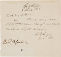 Autographs:U.S. Presidents, Rutherford B. Hayes Autograph Note Signed...