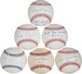 Baseball Collectibles:Balls, New York Yankees Greats Signed Baseballs Lot of 6....