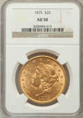 Liberty Double Eagles: , 1875 $20 AU58 NGC. NGC Census: (378/744). PCGS Population(135/625). Mintage: 295,740. Numismedia Wsl. Price for problemfr...
