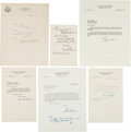 Autographs:Statesmen, [Supreme Court]. Lot of Six Letters Signed by Justices of theSupreme Court...