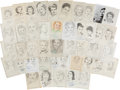 Autographs:Celebrities, Lot of Forty-Three Signed John Raitt Drawings of HollywoodWomen....