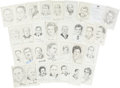 Autographs:Statesmen, Lot of Thirty Signed John Raitt Drawings of Political Figures....