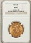 Liberty Eagles, 1887-S $10 MS63 NGC....