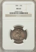 Seated Quarters: , 1881 25C MS65 NGC. NGC Census: (15/23). PCGS Population (15/17).Mintage: 12,000. Numismedia Wsl. Price for problem free NG...
