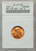 Lincoln Cents, 1972 1C Double Die Obverse Die-3 MS64 Red ANACS. NGC Census:(24/395). PCGS Population (115/595). Mintage: 2,933,224,960. N...