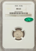 Bust Half Dimes, 1835 H10C Large Date, Small 5C MS63 NGC. CAC. V-10, LM-5, R.3....