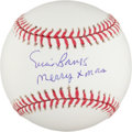 "Autographs:Baseballs, Ernie Banks ""Merry Xmas"" Single Signed Baseball. ..."