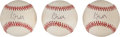 Autographs:Baseballs, Greg Maddux Signed 1995 World Series Baseballs Lot Of 3....