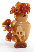 Asian:Chinese, A CHINESE CARVED HARDSTONE COVERED VIAL . 20th century . 4-1/2inches high (11.4 cm). ...