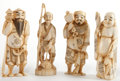 Asian:Japanese, FOUR JAPANESE CARVED IVORY OKIMONO . Meiji Period . Marks: (signed). 5-1/2 inches high (14.0 cm). ... (Total: 4 Items)