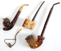 Decorative Arts, Continental:Other , FOUR CONTINENTAL MEERSCHAUM, BRIAR WOOD AND SILVERED METAL PIPES .19th century . Marks: MADE IN CZECHOSLOVAKIA, GENUINE B...(Total: 4 Items)