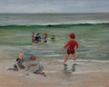 Fine Art - Painting, American, Attributed to MARY CURTIS RICHARDSON (American, 1848-1931). Children Playing on the Seashore. Oil on canvas . 16 x 20 in...