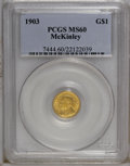Commemorative Gold: , 1903 G$1 Louisiana Purchase/McKinley MS60 PCGS. PCGS Population(35/2549). NGC Census: (9/1550). Mintage: 17,500. Numismedi...