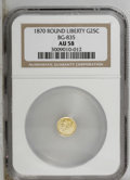California Fractional Gold: , 1870 25C Liberty Round 25 Cents, BG-835, R.3, AU58 NGC. PCGSPopulation (41/124). (#10696)...