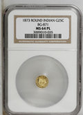 California Fractional Gold: , 1873 25C Indian Round 25 Cents, BG-871, High R.6, MS64 NGC. PCGSPopulation (4/1). (#10732)...