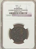Large Cents: , 1805 1C -- Environmental Damage -- NGC Details. VF. S-269. NGCCensus: (4/86). PCGS Population (13/123). Mintage: 941,116....