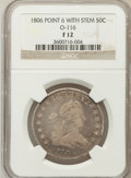 Early Half Dollars: , 1806 50C Pointed 6, Stem Fine 12 NGC. O-116. NGC Census: (57/1669).PCGS Population (69/867). Mintage: 839,576. Numismedia...