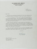 Autographs:Military Figures, Hyman G. Rickover (1900-1986, US Navy Four-Star Admiral). Typed Letter Signed. Includes envelope and COA from EAC Gallery. F...