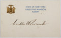 Autographs:U.S. Presidents, Franklin D. Roosevelt (1882-1945, 32nd President of the UnitedStates). Signed Card. Very good....