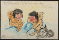 Autographs:Artists, Albert Operti (1852-1927, Italian Artist Who Accompanied Peary onHis 1896 Expedition). Signed Original Cartoon Drawing. App...