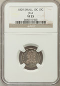 Bust Dimes: , 1829 10C Small 10C VF25 NGC. JR-4. NGC Census: (5/247). PCGSPopulation (4/238). Mintage: 770,000. Numismedia Wsl. Price f...