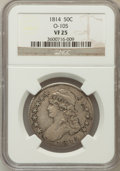 Bust Half Dollars: , 1814 50C VF25 NGC. O-105. NGC Census: (12/550). PCGS Population(23/499). Mintage: 1,039,075. Numismedia Wsl. Price for pr...