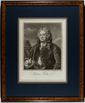 Books:Prints & Leaves, William Hogarth. Nineteenth-Century Engraved Portrait of Martin Folkes. Exposed area approx. 13.5 x 10 inches. Matted and fr...