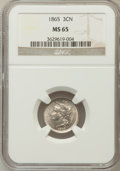 Three Cent Nickels: , 1865 3CN MS65 NGC. NGC Census: (131/16). PCGS Population (95/38).Mintage: 11,382,000. Numismedia Wsl. Price for problem fr...