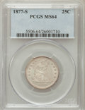 Seated Quarters: , 1877-S 25C MS64 PCGS. PCGS Population (92/41). NGC Census: (85/46).Mintage: 8,996,000. Numismedia Wsl. Price for problem f...