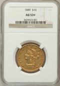 Liberty Eagles: , 1849 $10 AU53+ NGC. NGC Census: (103/266). PCGS Population (25/75).Mintage: 653,618. Numismedia Wsl. Price for problem fre...