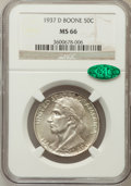 Commemorative Silver: , 1937-D 50C Boone MS66 NGC. CAC. NGC Census: (112/26). PCGSPopulation (145/46). Mintage: 2,506. Numismedia Wsl. Price for p...